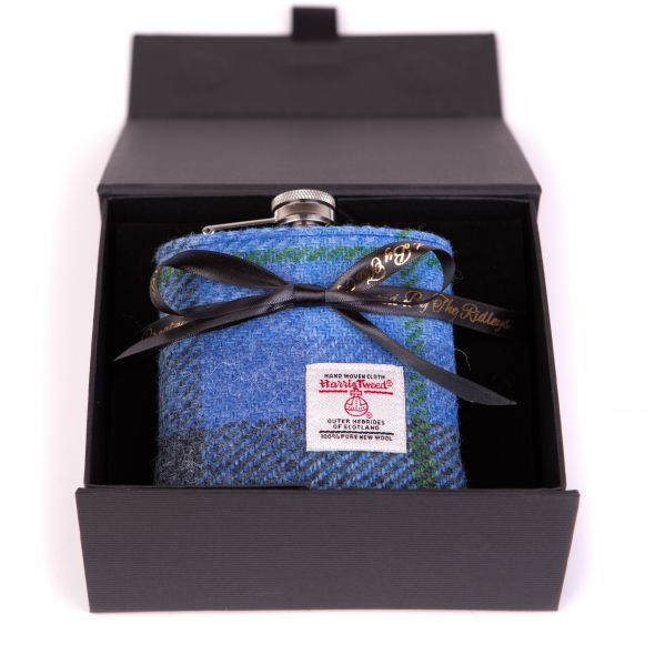 Harris Tweed Hipflask With Box | Blue/Purple