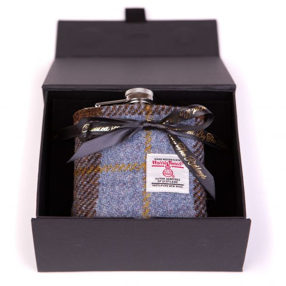 Harris Tweed Hipflask With Box | Green