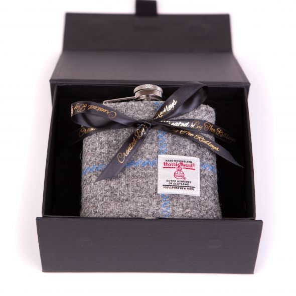 Harris Tweed Hipflask With Box | Grey