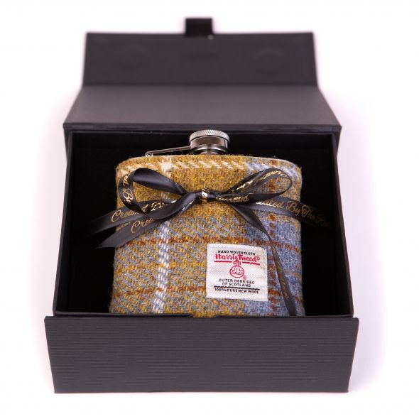 Harris Tweed Hipflask With Box | Mustard