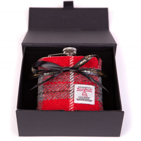 Harris Tweed Hipflask With Box | Red