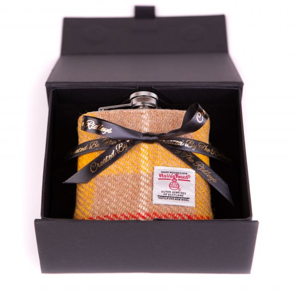 Harris Tweed Hipflask With Box | Yellow
