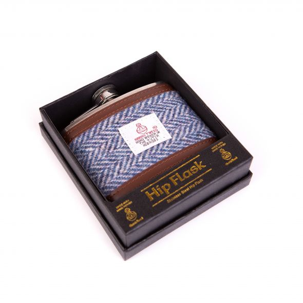 Harris Tweed Hipflask 4Oz | Light Blue