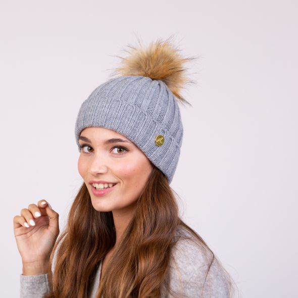 Meribel Pom Pom Hat | Light Grey