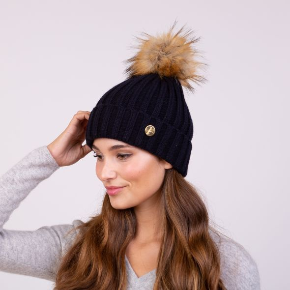 Meribel Pom Pom Hat | Navy