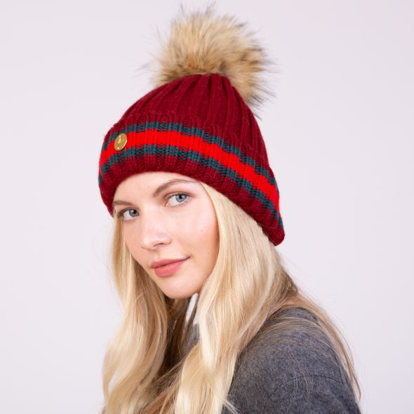 Meribel Pom Pom Hat | Burgundy