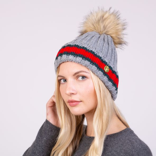 Meribel Pom Pom Hat | Charcoal