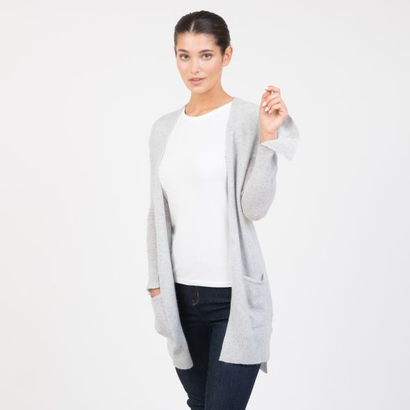 Women's Cashmere Girlfriend Cardigan | Light Grey