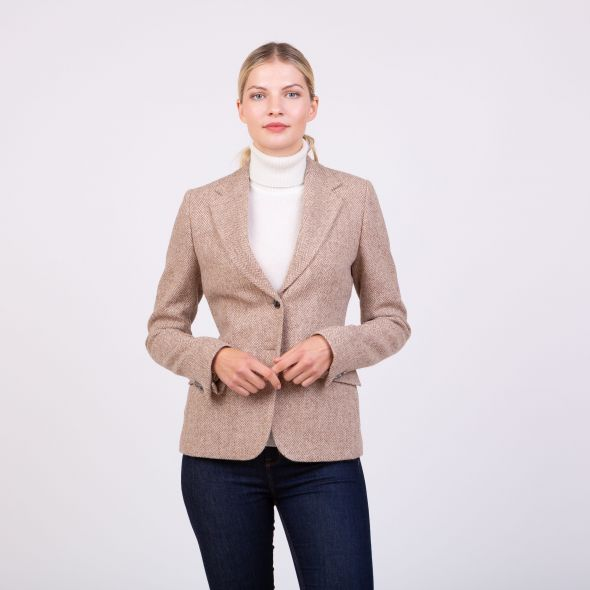 Women's Harris Tweed Janice Blazer | Light Beige Herringbone