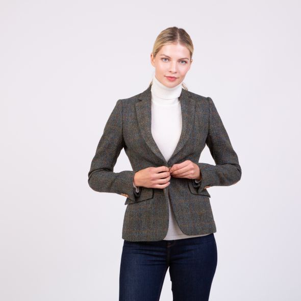Women's Harris Tweed Janice Blazer | Dark Green Check