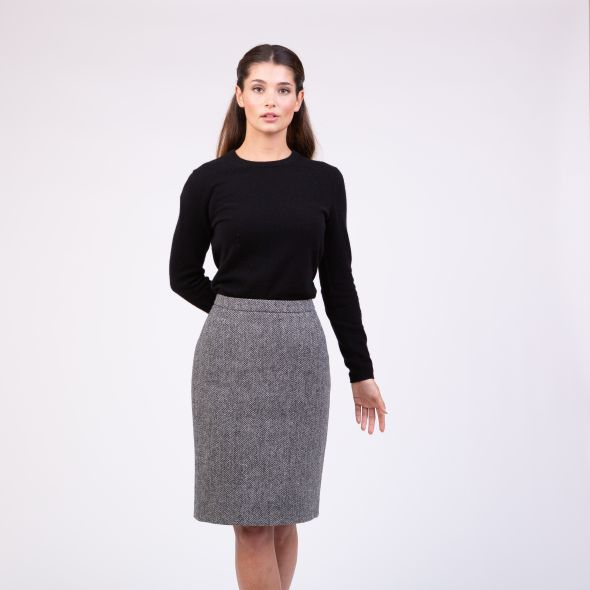 Women's Harris Tweed Cindy Skirt | Light Grey Herringbone