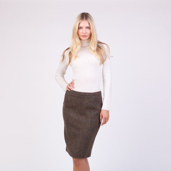Women's Harris Tweed Cindy Skirt | Brown Check