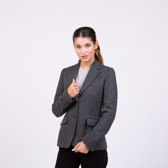Women's Harris Tweed Heather Blazer | Grey Herringbone Rust Check