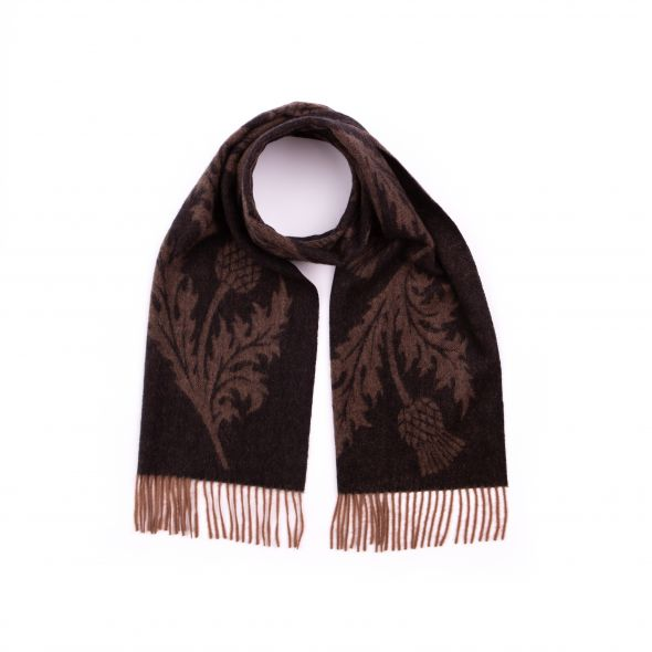 Lambswool Wide Jacquard Scarf | Chocolate/ Black