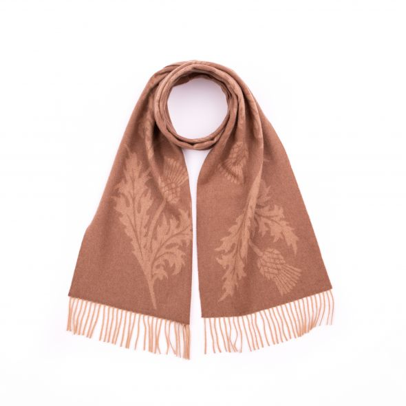 Lambswool Wide Jacquard Scarf | Camel