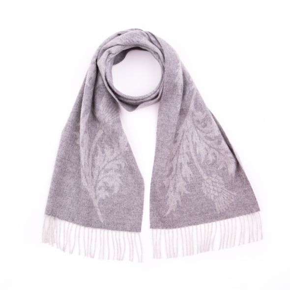 Lambswool Wide Jacquard Scarf | Light Grey
