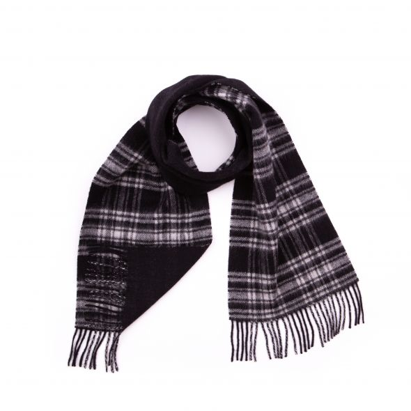 Double Faced Lambswool Scarf | Menzies Black & White Modern