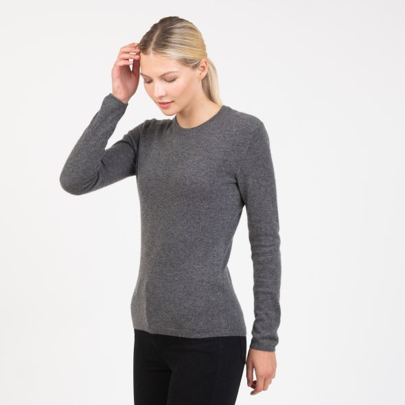 Women's Cashmere Crew Neck Jumper | Derby Grey