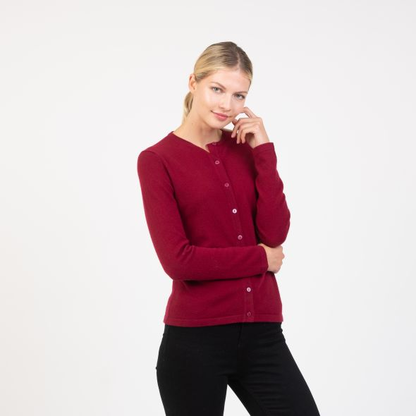 Women's Cashmere High Button Cardigan | Bordeaux