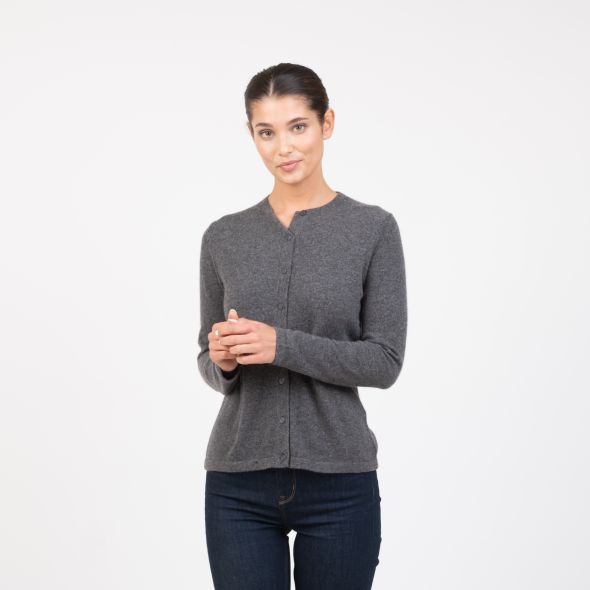 Women's Cashmere High Button Cardigan | Derby Grey
