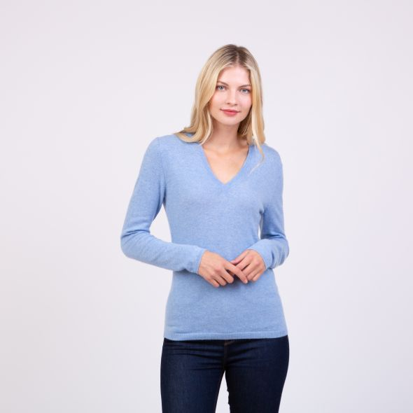 Women's Cashmere V Neck Jumper | Glacier