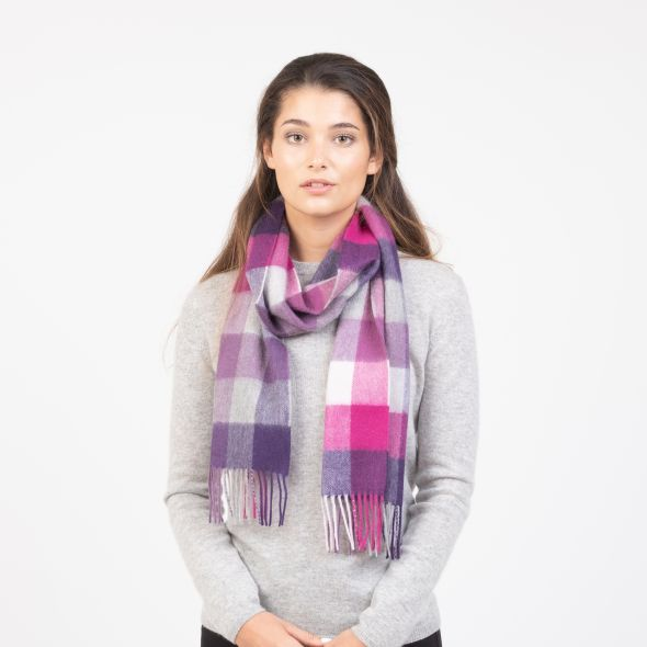 Cashmere Scarf | Purple 5 Square Check