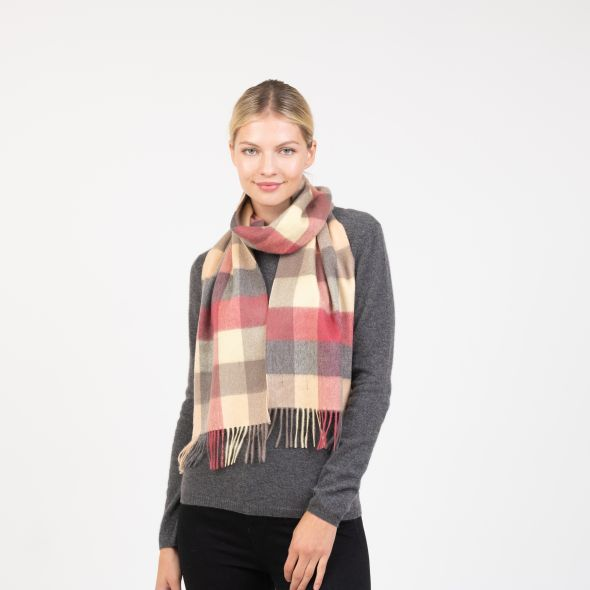 Cashmere Scarf | Grey Rose 5 Square Check