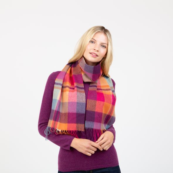 Lambswool Scarf | Orient Ginger New Square Check