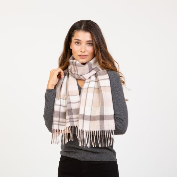 Lambswool Scarf | Natural Multi Square Check