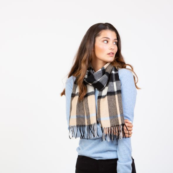 Lambswool Scarf | Exploded Camel Thompson Blue