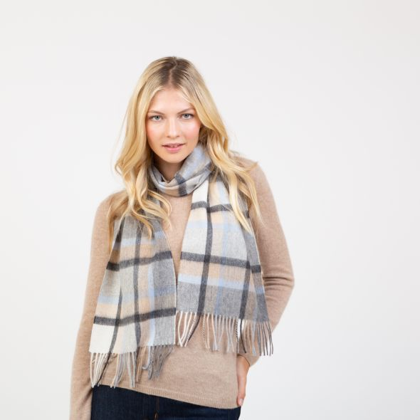 Lambswool Scarf | Blue Princeton Check