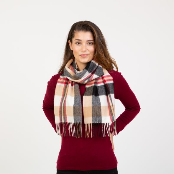 Lambswool Scarf | Camel New Square Check