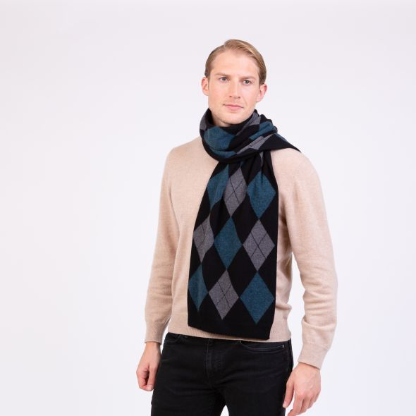 Cashmere Argyle Scarf | Black Mix
