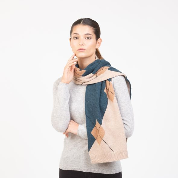 Cashmere Scattered Argyle Scarf | Camel Mix