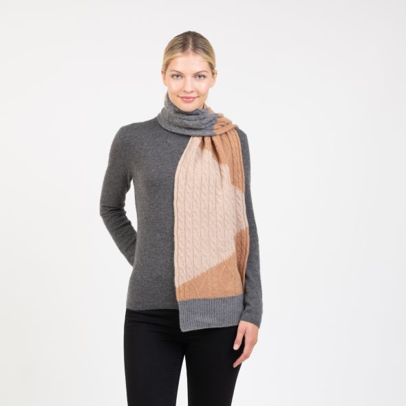 Cashmere Colour Block Scarf | Camel Mix