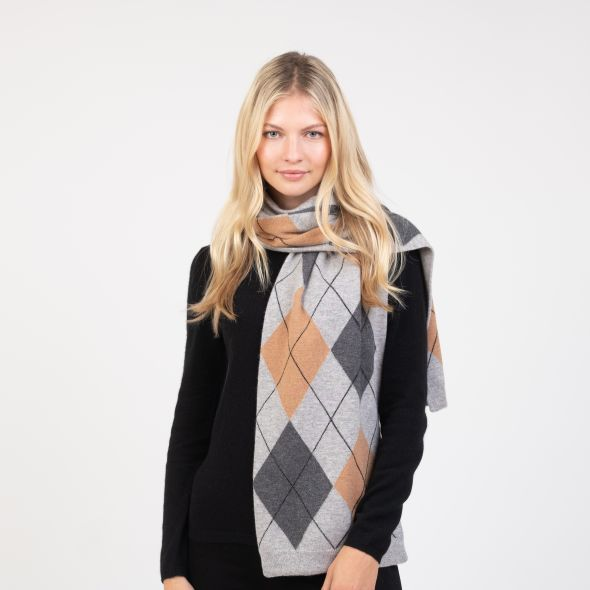 Cashmere Argyle Scarf | Grey Mix