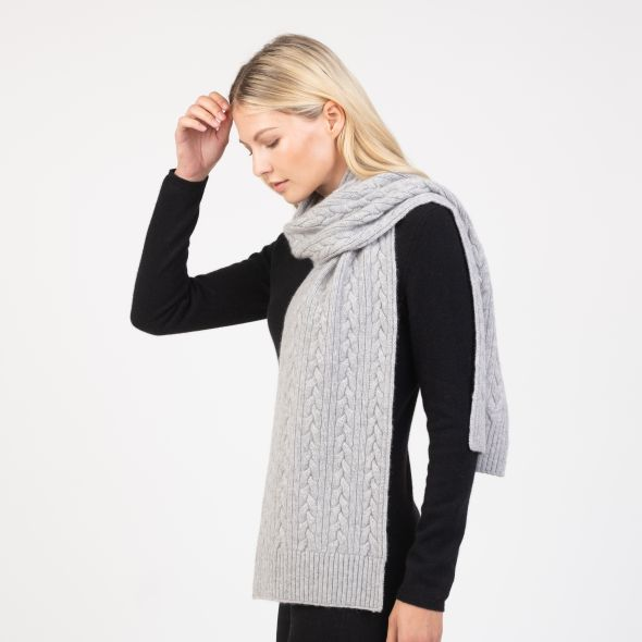Cashmere Cable Knitted Scarf | Oyster Grey