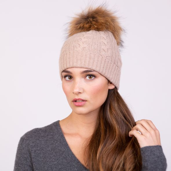 Cable Knit Pom Pom Hat | Sand