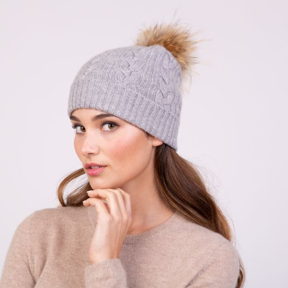 Cable Knit Pom Pom Hat | Oyster Grey