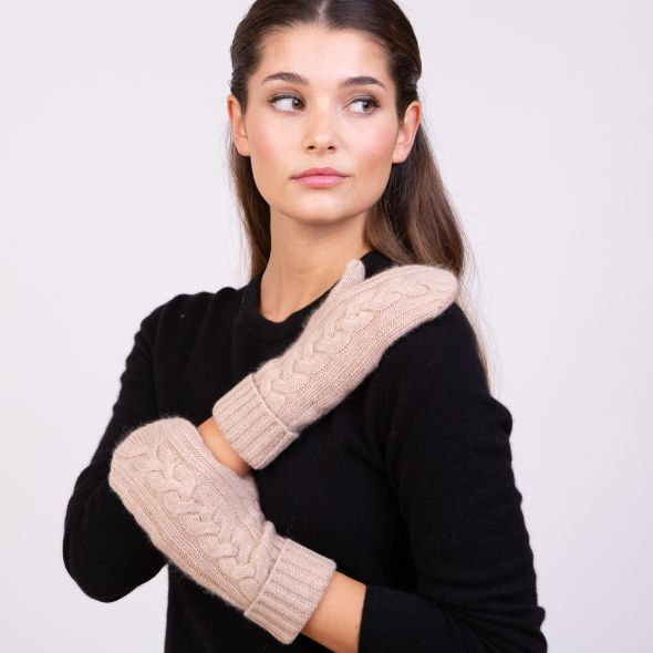 Cashmere Cable Knit Mittens | Sand