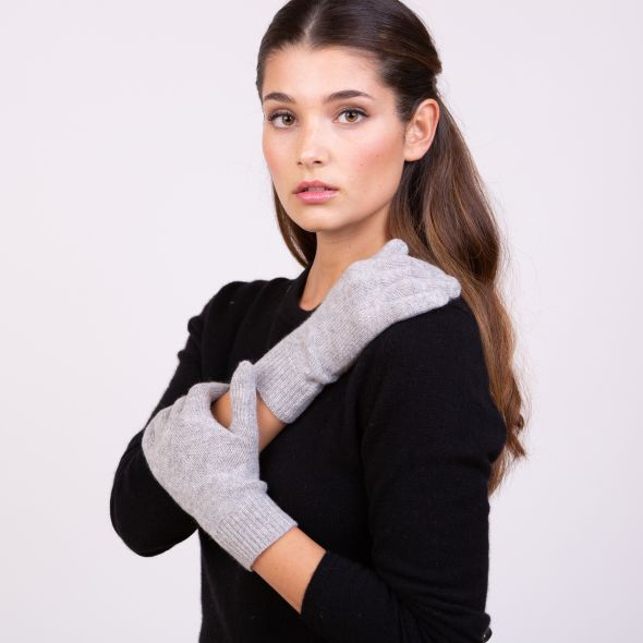Cashmere Plain Gloves | Oyster Grey