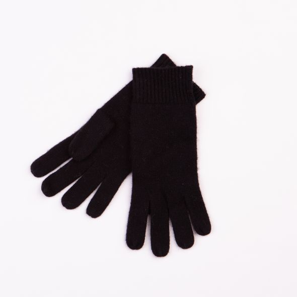 Cashmere Plain Gloves | Black