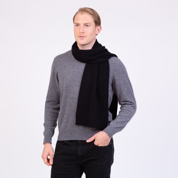 Cashmere Ribbed Scarf | Black