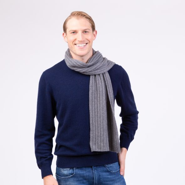Cashmere Ribbed Scarf | Derby Grey
