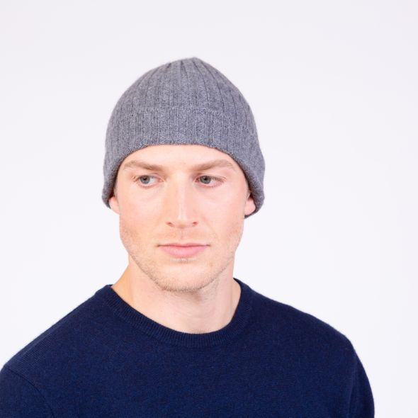 Cashmere Ribbed Beanie Hat | Derby Grey