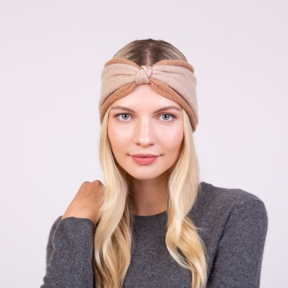 Cashmere Colour Block Headband | Sand