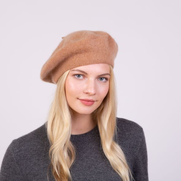 Cashmere Knitted Beret | Camel