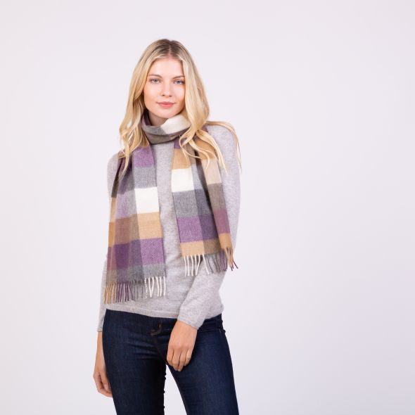 Made In Scotland Cashmere Scarf | Sandwood Amethyst Check