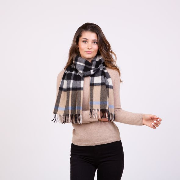 Made In Scotland Cashmere Scarf | Exploded Camel Thompson Blue