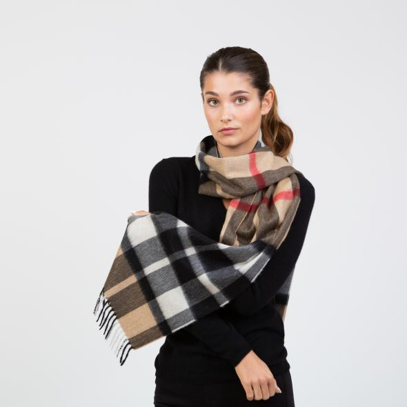 Made In Scotland Wide Cashmere Scarf | Exploded Camel Thompson